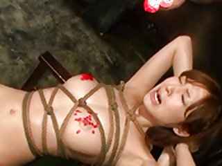Dirty  gets a huge dildo inserted in her cunt in bondage sex